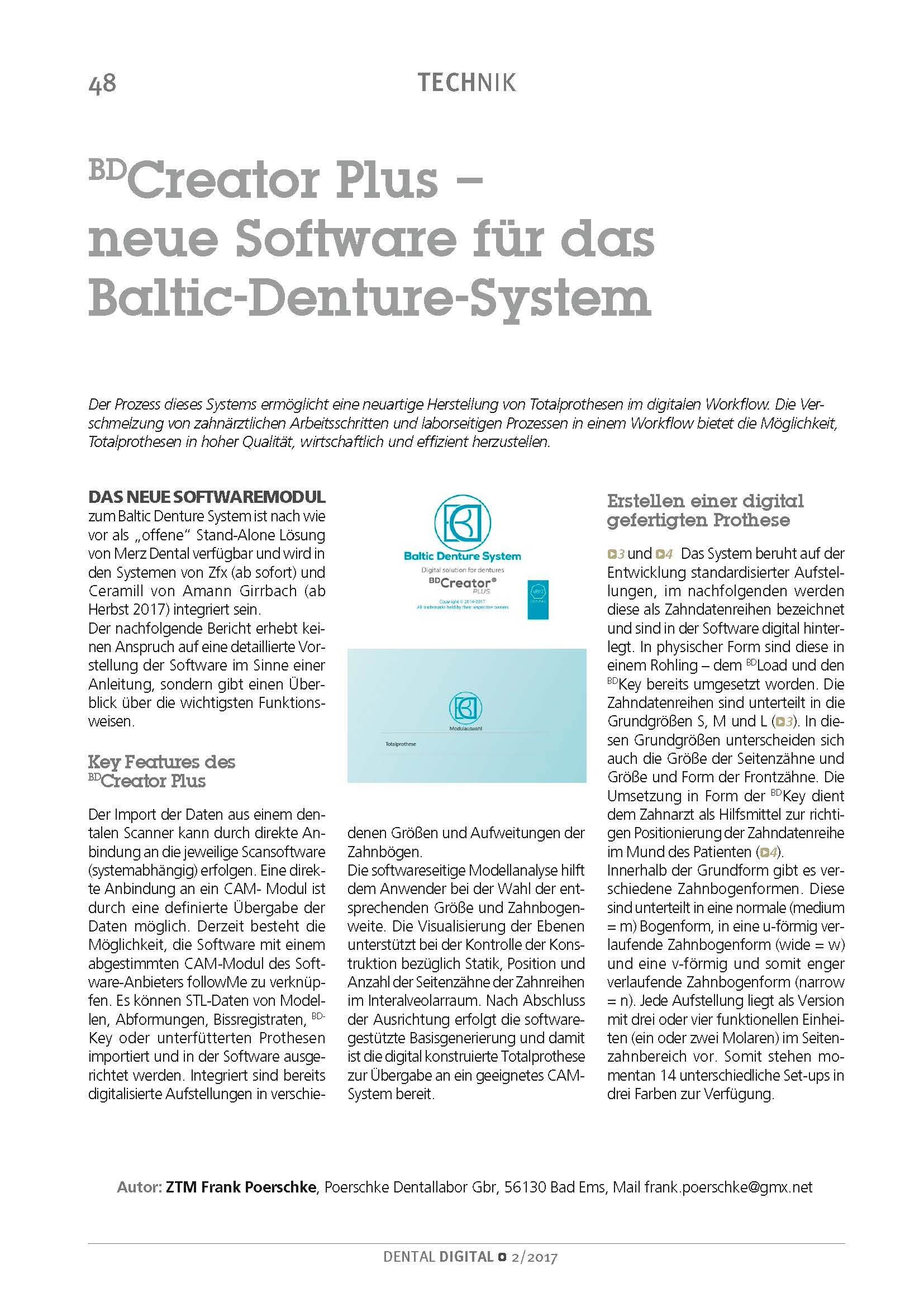 "download image - DENTAL DIGITAL, Juni 2017: ZTM Frank Poerschke – ""BD Creator Plus – neue Software für das Baltic Denture System"""