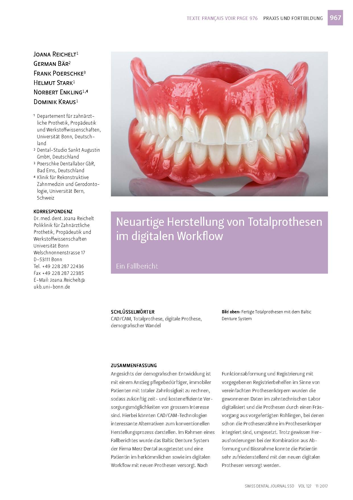 "download image - Swiss Dental Journal SSO 11/2017: ""Neuartige Herstellung von Totalprothesen im digitalen Workflow"